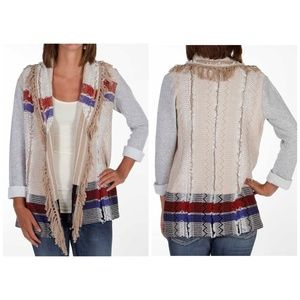 Gimmmicks BKE Fringe Boho Cardigan Sweater XL